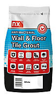 NX Anti-bacterial Arctic white Tile Grout, 5kg