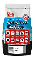 NX Anti-bacterial Ready mixed Steel grey Floor & wall Tile Grout, 5kg