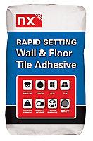 NX Rapid set Grey Tile Adhesive, 15kg