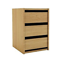 Oak effect Foil-wrapped particle board 3 Drawer Chest of drawers (H)600mm (W)400mm (D)450mm