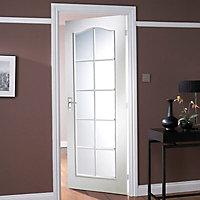 Obscure Glazed Moulded Woodgrain White LH & RH Internal Single swing Door, (H)1981mm (W)762mm