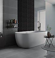 Opulence Black Frosted effect Linear Glass Mosaic tile, (L)294mm (W)323mm
