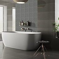 Opulence Smoke grey Frosted effect Linear Glass Mosaic tile, (L)294mm (W)323mm