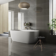 Opulence Smoke grey Gloss Speckled Stone effect Porcelain Wall & floor Tile, Pack of 5, (L)600mm (W)300mm