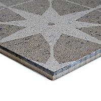 Opulence Smoke grey Semi-gloss Star Porcelain Wall Tile, (L)600mm (W)300mm
