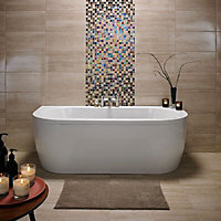 Origin Sand Gloss Linear travertine Stone effect Ceramic Wall tile, Pack of 8, (L)498mm (W)248mm