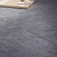 Oscano Anthracite Matt Stone effect Ceramic Tile, Pack of 6, (L)300mm (W)600mm