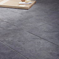 Oscano Anthracite Matt Stone effect Ceramic Wall & floor tile, Pack of 6, (L)300mm (W)600mm