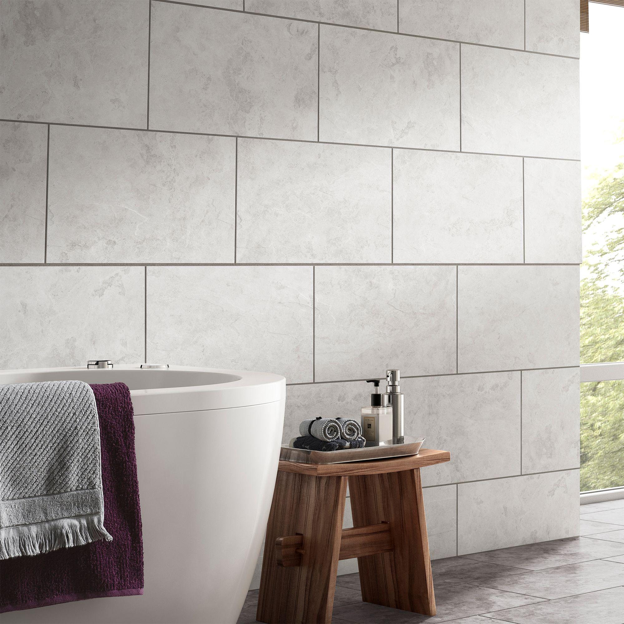 Oscano Light Grey Matt Stone Effect Ceramic Wall & Floor Tile, Pack Of 6,  (L)300mm (W)600mm DIY At B&Q