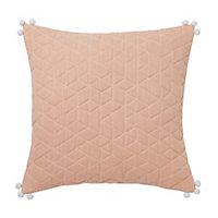 Paddy Quilted geometric Peach Cushion (L)45cm x (W)45cm