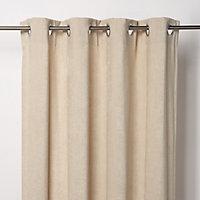 Pahea Beige Chenille Unlined Eyelet Curtain (W)167cm (L)183cm, Single