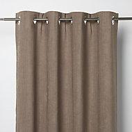 Pahea Brown Chenille Blackout Eyelet Curtain (W)117cm (L)137cm, Single