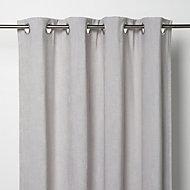 Pahea Grey Chenille Unlined Eyelet Curtain (W)117cm (L)137cm, Single