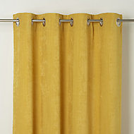 Pahea Yellow Chenille Unlined Eyelet Curtain (W)117cm (L)137cm, Single