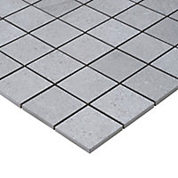 Palemon Grey Stone effect Mosaic Porcelain Mosaic tile, (L)305mm (W)300mm