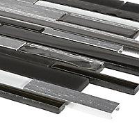 Palermio Brown Aluminium & glass Mosaic tile, (L)298mm (W)294mm