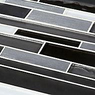 Palermio Brown Glass effect Aluminium & glass Mosaic tile, (L)298mm (W)294mm