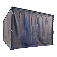 Palram 4/5K Grey Polyester (PES) Gazebo curtain, Pack of 4 (L)2170mm (W)4650mm