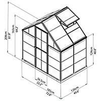 Palram Harmony 6x4 Polycarbonate Apex Greenhouse