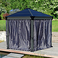 Palram Hexagonal Grey Polyester (PES) Gazebo curtain, Pack of 6 (L)2170mm (W)2320mm