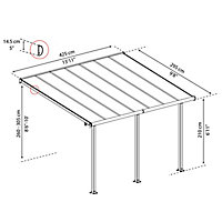 Palram Olympia Grey Non-retractable Awning, (L)4.25m (H)3m (W)3.05m