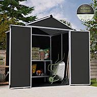 Palram Rubicon 6x5 Apex Dark grey Plastic Shed with floor
