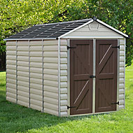Palram Skylight 6x10 Apex Tan Plastic Shed with floor