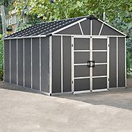 Palram Yukon with Floor 11x13.1 Apex Dark grey Plastic Shed with floor