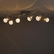 Panacea Chrome effect Mains-powered 6 lamp Spotlight