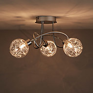Paralia Chrome effect Mains-powered 3 lamp Spotlight