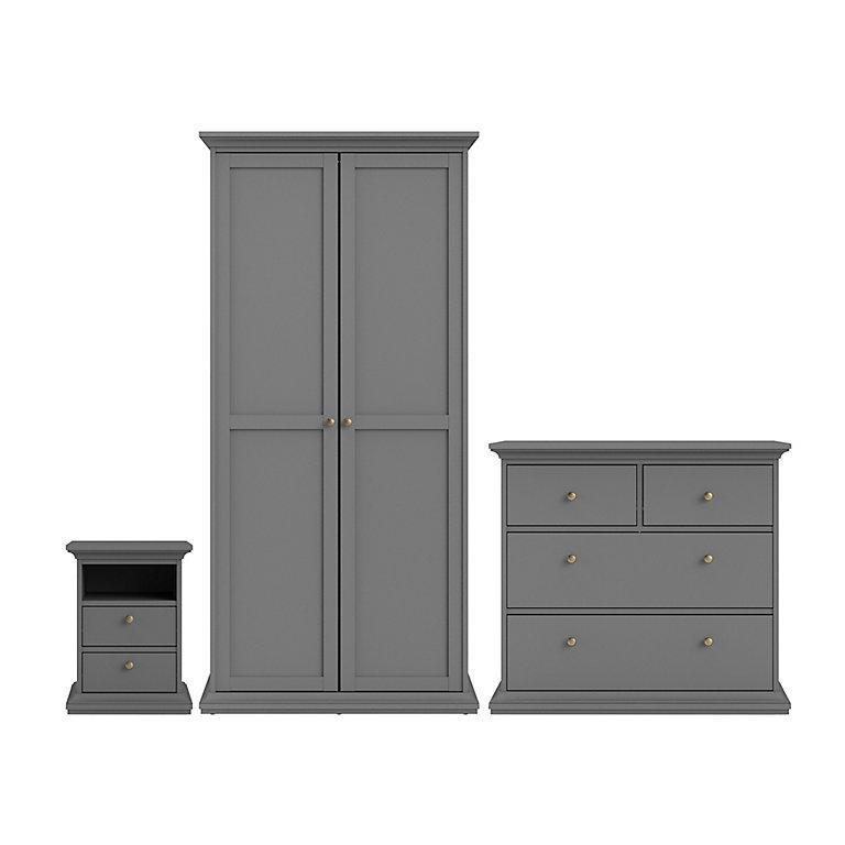 Paris Matt Grey Bedroom Furniture Set, White Bedroom Furniture Sets B Q