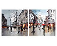 Paris street scenes Multicolour Canvas art, Set of 2 (H)400mm (W)400mm