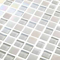 Parmia White Glass effect Mosaic Glass & marble Mosaic tile, (L)306mm (W)306mm
