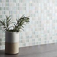 Parmia White Glass & marble Mosaic tile, (L)306mm (W)306mm