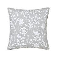 Patna Floral Grey & white Cushion (L)45cm x (W)45cm