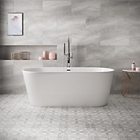 Perla Grey Patterned effect Ceramic Floor tile, Pack of 11, (L)300mm (W)300mm