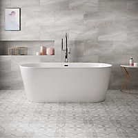 Perla Grey Stone effect Ceramic Floor tile, Pack of 5, (L)600mm (W)300mm