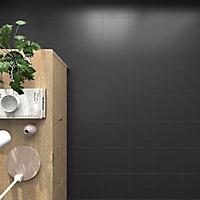 Pescaro Black Matt Ceramic Wall & floor Tile, Pack of 13, (L)333mm (W)333mm