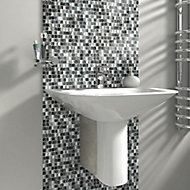 Petrol blue Marble effect Glass & stone Mosaic tile, (L)300mm (W)300mm