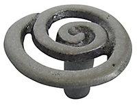 Pewter effect Aluminium Round Swirl Furniture Knob, Pack of 6