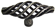 Pewter effect Steel Cage Furniture Knob, Pack of 6