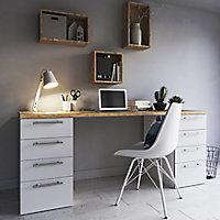 Pine wood White Matt Wood effect Porcelain Wall & floor Tile, Pack of 8, (L)800mm (W)200mm