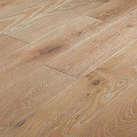 Pingora Grey Wood effect Oak Real wood top layer Flooring Sample