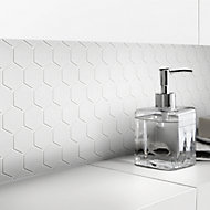 Plain White Frosted Glass Mosaic tile sheet, (L)300mm (W)300mm