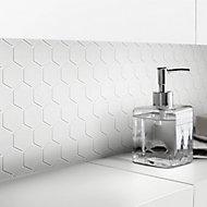 Plain White Plain Glass Mosaic tile sheets, (L)300mm (W)300mm