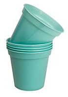 Plastic Blue Plant pot (H)120mm (Dia)127mm, Pack of 5