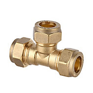 Plumbsure Brass Compression Equal Tee (Dia)15mm, Pack of 10