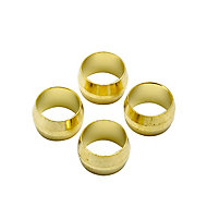 Plumbsure Brass Compression Olive (Dia)8mm, Pack of 4