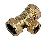 Plumbsure Brass Compression Reducing Tee (Dia)22mm