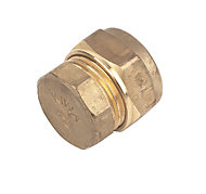 Plumbsure Brass Compression Stop end (Dia)15mm, Pack of 10